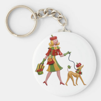 Walking the dog in style! keychain