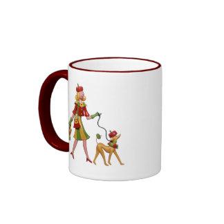 Walking the dog in style! coffee mugs