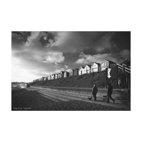 Walking The Dogs, fine art black and white photo Canvas Print