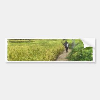 Walking through some fields bumper sticker