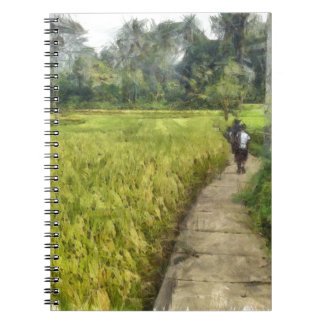 Walking through some fields spiral notebook