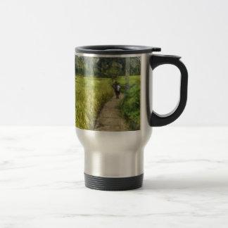 Walking through some fields travel mug