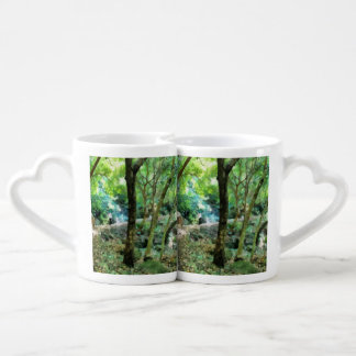 Walking through the forest couples coffee mug