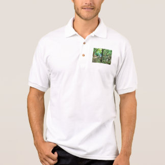 Walking through the forest polo t-shirt