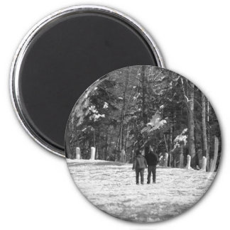 Walking Through the Woods 2 Inch Round Magnet