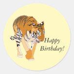 Walking Tiger Happy Birthday Stickers