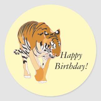 Walking Tiger Happy Birthday Stickers