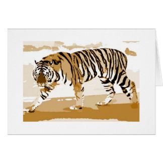 Walking Tiger Pop Art Card