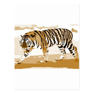 Walking Tiger Pop Art Postcard