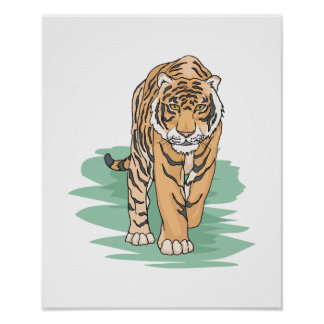 walking tiger poster