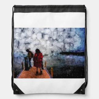 Walking towards the lake drawstring backpack