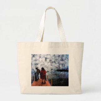 Walking towards the lake large tote bag