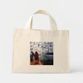 Walking towards the lake mini tote bag