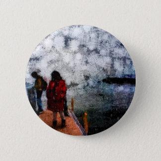 Walking towards the lake pinback button