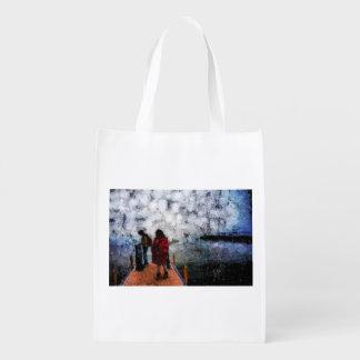 Walking towards the lake reusable grocery bags