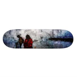 Walking towards the lake skateboard