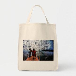 Walking towards the lake tote bag