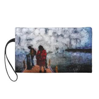 Walking towards the lake wristlet purse