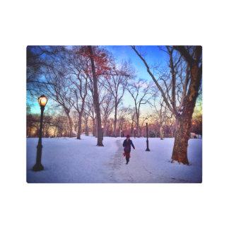 Walking Under A Winter Sunset Metal Print