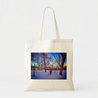 Walking Under A Winter Sunset Tote Bag