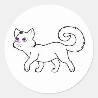 Walking White Cat Classic Round Sticker