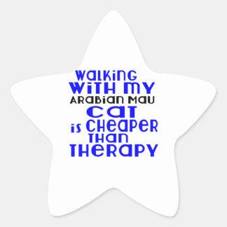 Walking With My Arabian Mau Cat Designs Star Sticker