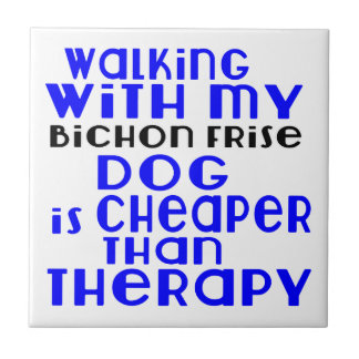 Walking With My Bichon Frise Dog Designs Tile