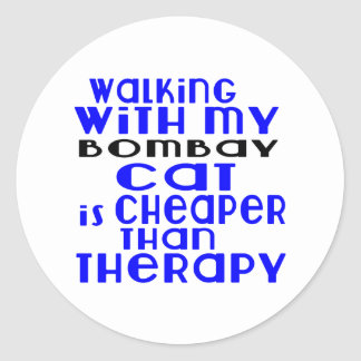 Walking With My Bombay Cat Designs Classic Round Sticker