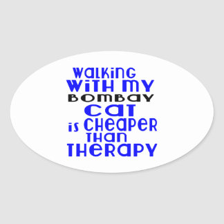 Walking With My Bombay Cat Designs Oval Sticker