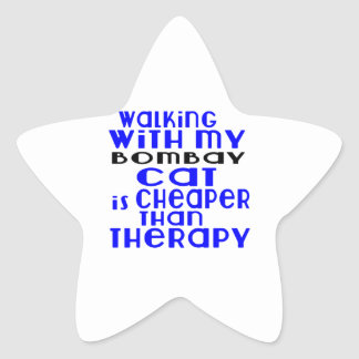 Walking With My Bombay Cat Designs Star Sticker