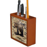 Walking Young Grizzly Bear Cub Wildlife Photo Desk Organizer