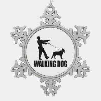 Walking (zombie) Dog Snowflake Pewter Christmas Ornament