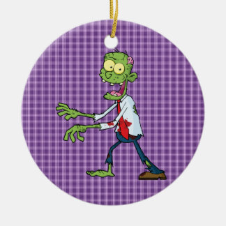 walking zombie Double-Sided ceramic round christmas ornament