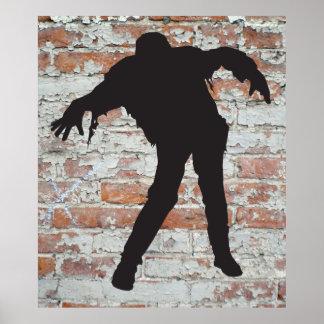 walking zombie silhouette poster