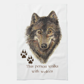 Walks with Wolves Wolf Quote Hand Towel