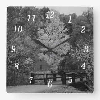 Walkway Bridge to Alley Mill Grayscale Square Wall Clock