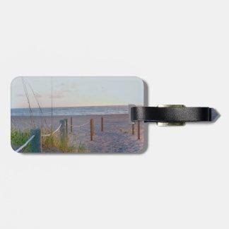 walkway florida beach dune sunrise luggage tag
