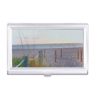 walkway florida beach dune sunrise business card cases