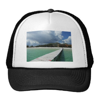 walkway reaching out into the sea mesh hat