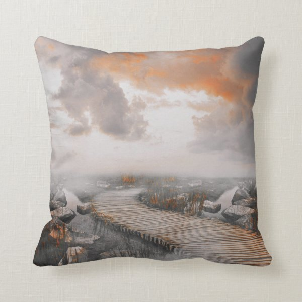 Walkway Through Water and Rocks Peach Gray Pillow