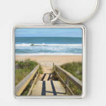 Walkway to the Beach Keychain Silver-Colored Square Keychain