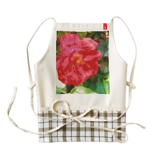 Wall and red rose zazzle HEART apron