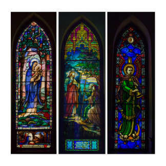 Wall Art Christ Stained Glass Window Triptych Part 58