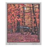 Wall art: Civil War cannon with autumnal foliage Print