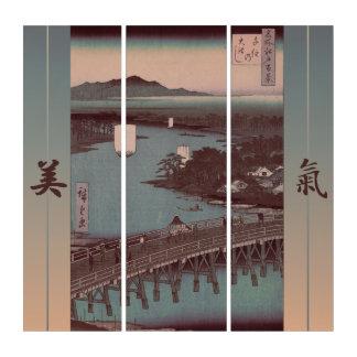 Wall Art Japanese Painting Bridge Triptych