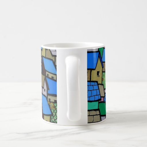 Wall art mug. Small houses. Coffee Mug