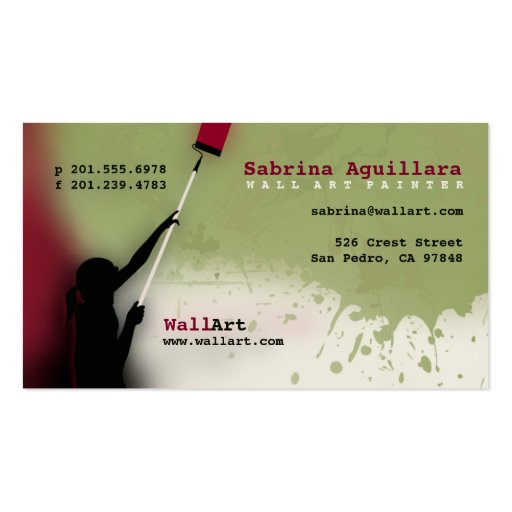 Wall art painter professional business card zazzle for Professional painter business card