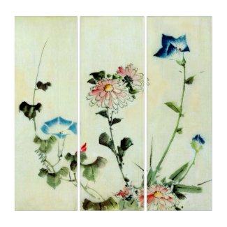 Wall Art Vintage Katsushika Flowers Triptych (3) 36