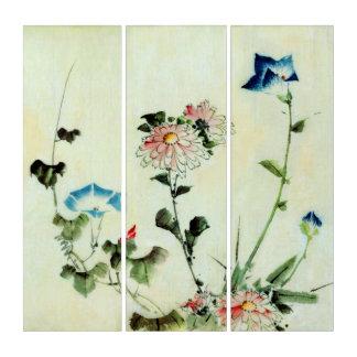 Wall Art Vintage Katsushika Flowers Triptych