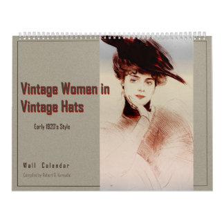 Wall Calendar Vintage Women in Vintage Hats